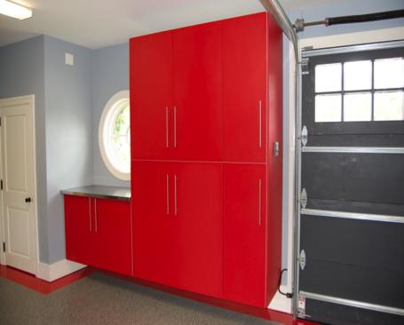 Red garage cabinets